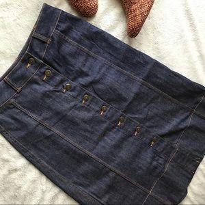 Kate Spade Broome Street Denim A-Line Button Skirt